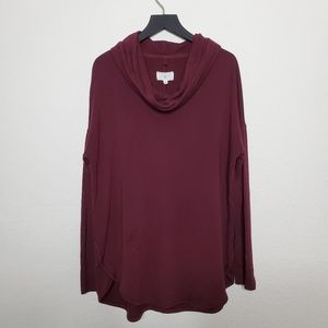 Lou & Grey Burgundy Cowl Neck Sweater